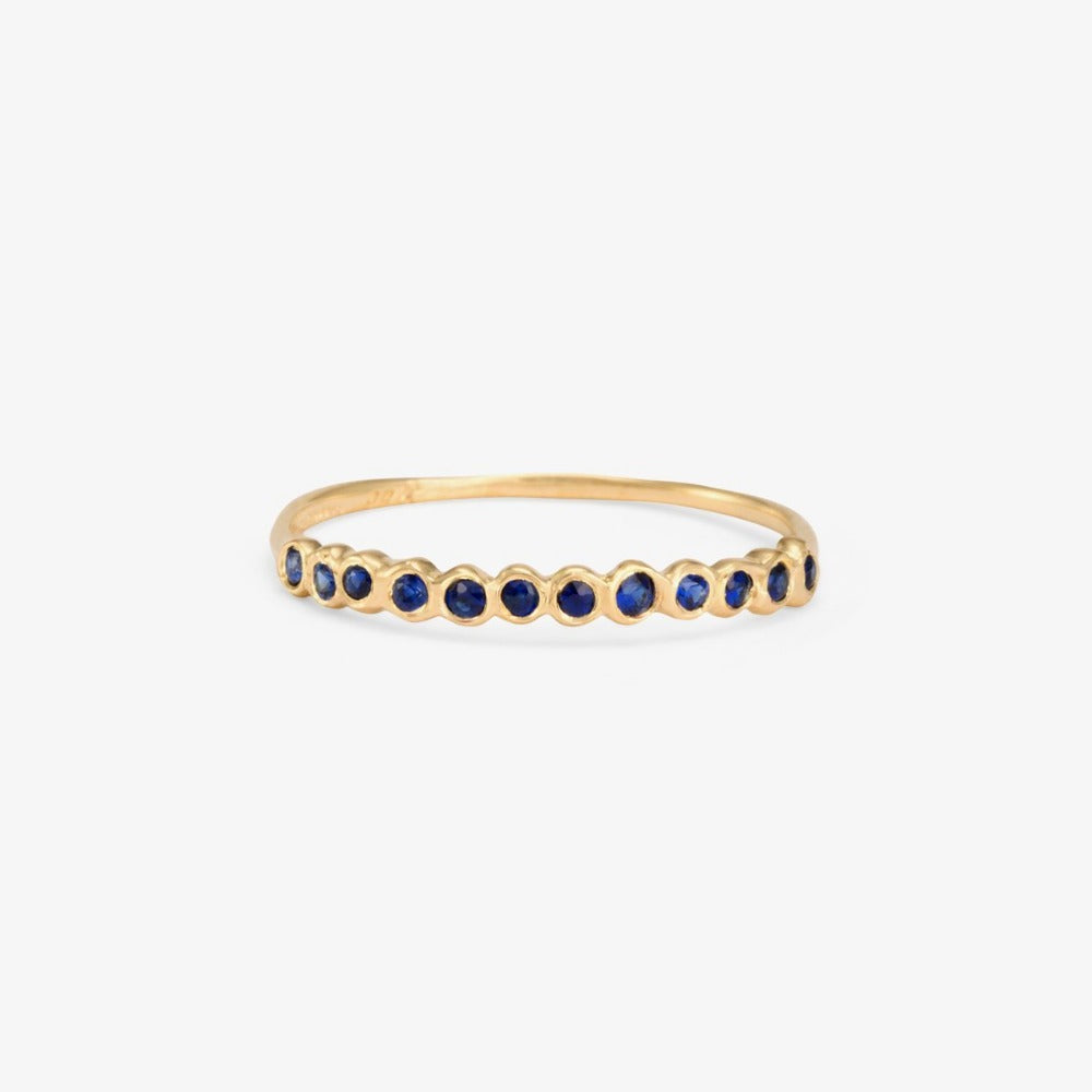 Small Sapphire Circle Half Eternity Band YG | Magpie Jewellery