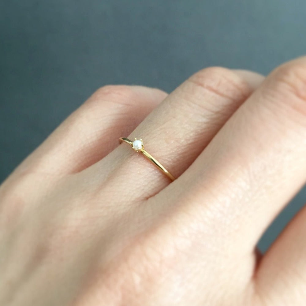 Baby Pearl Birthstone Ring (June) | Magpie Jewellery