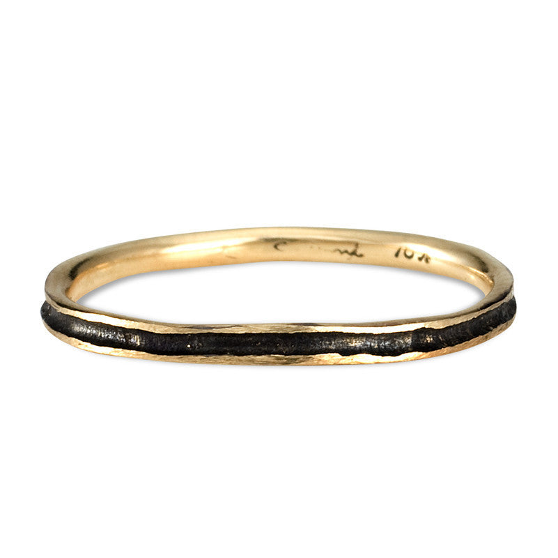 Black Rhodium and Gold Band