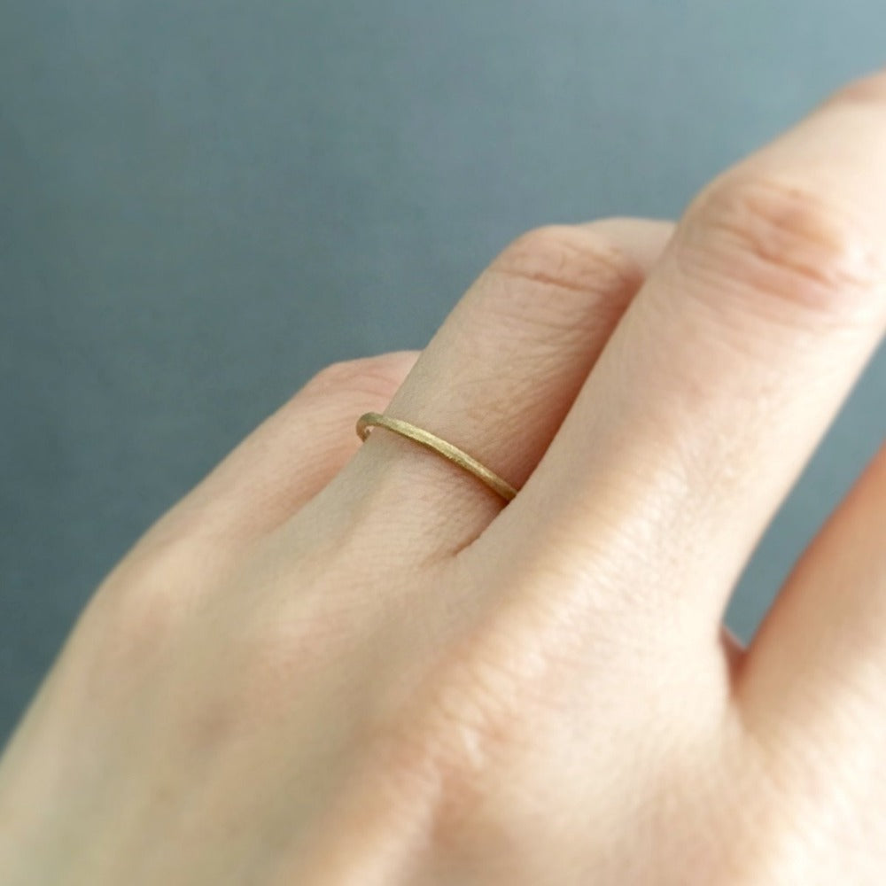 1.3mm Yellow Gold Rough Textured Band | Magpie Jewellery