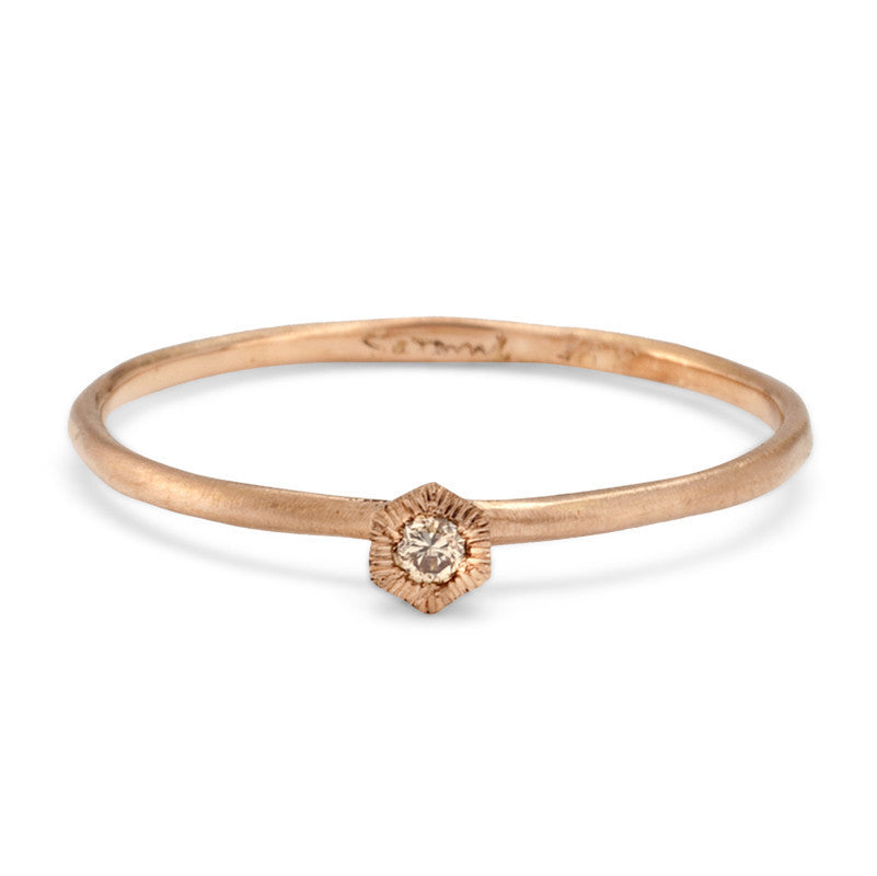 Baby Brown Diamond Hexagon Ring Rose Gold | Magpie Jewellery