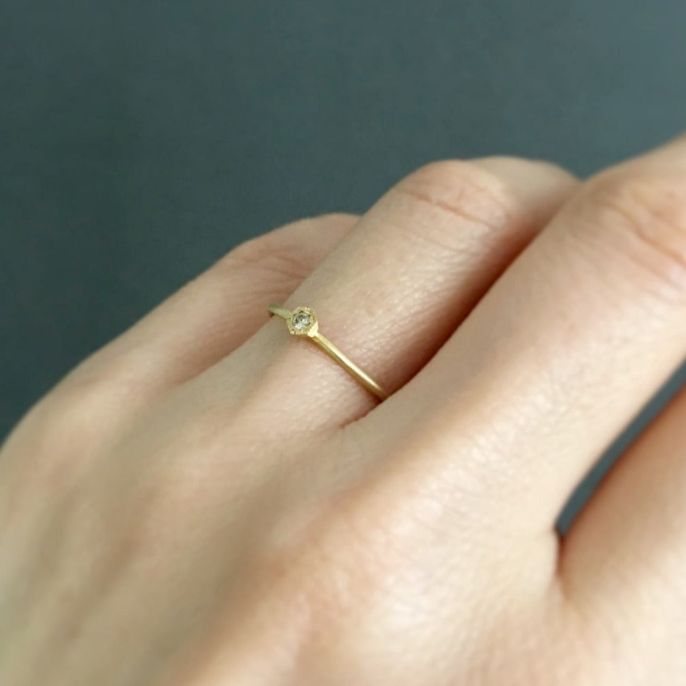 Baby Brown Diamond Hexagon Ring Yellow Gold | Magpie Jewellery