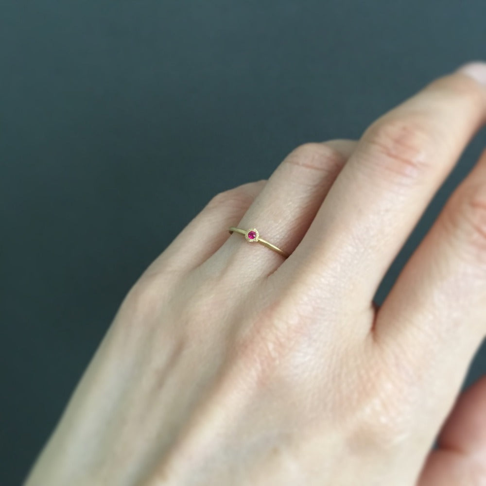 Baby Ruby Hexagon Ring | Magpie Jewellery
