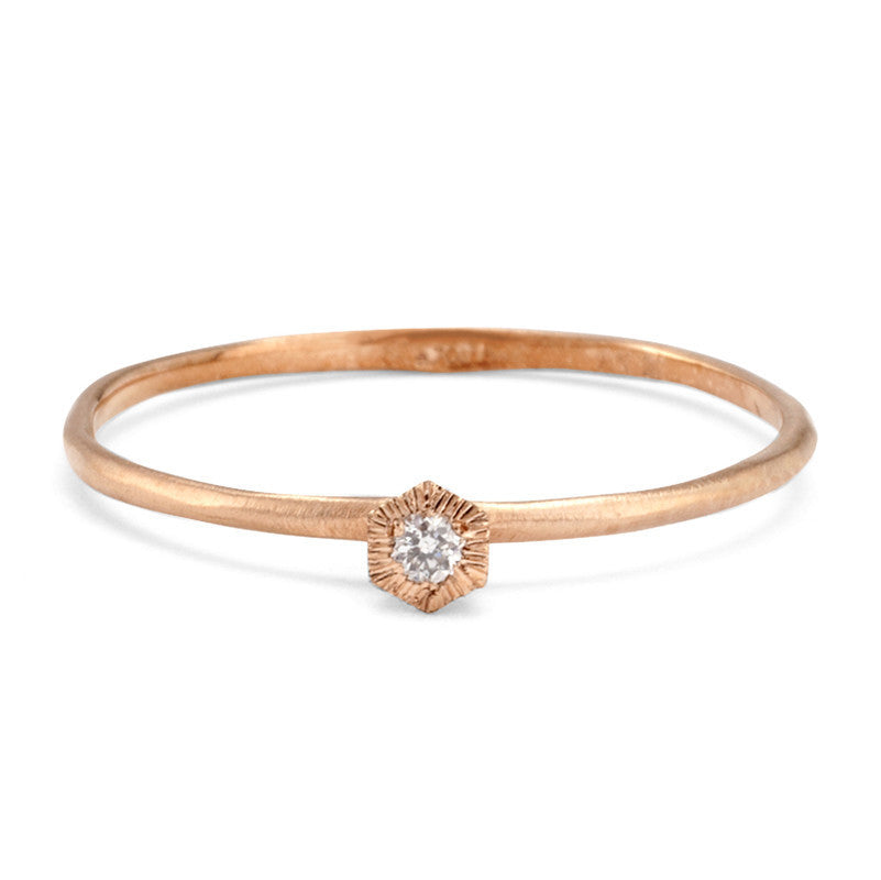 Baby Diamond Hexagon Ring Rose Gold | Magpie Jewellery