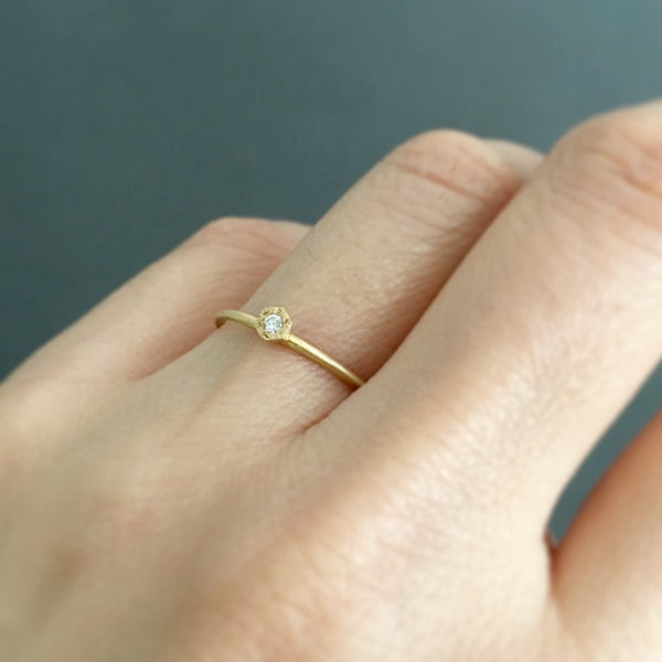 Baby Diamond Hexagon Ring Yellow Gold | Magpie Jewellery