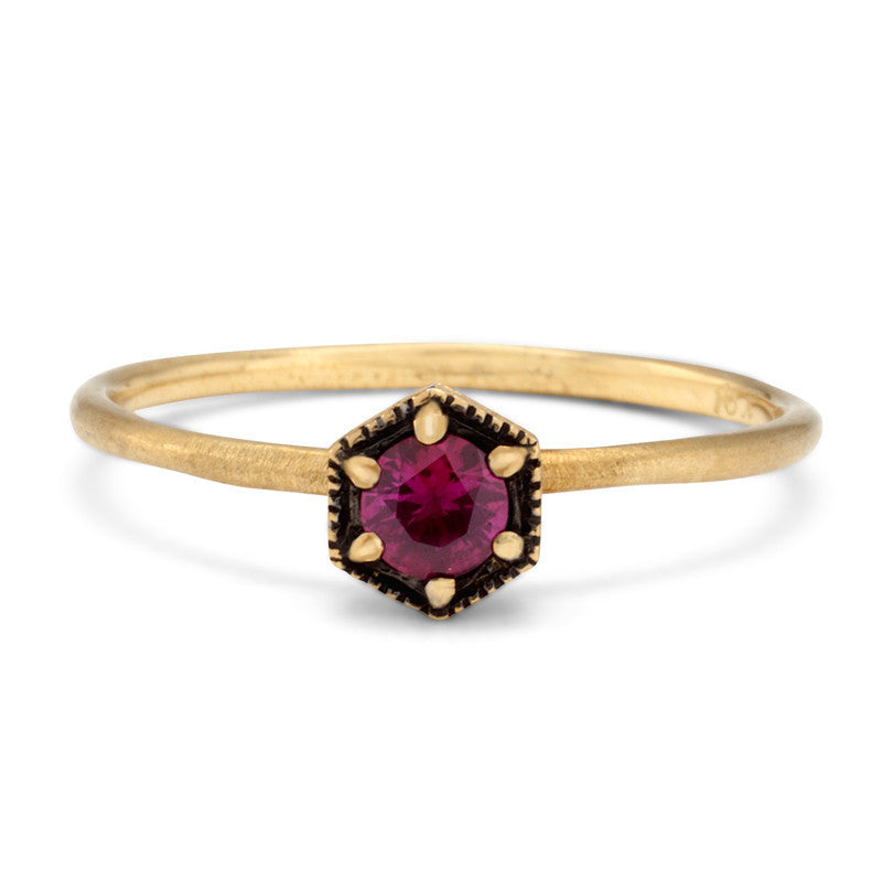 Ruby Hexagon Ring | Magpie Jewellery