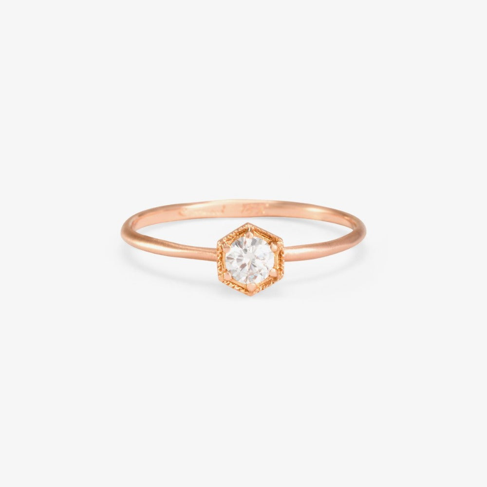 Hexagon White Diamond Ring | Magpie Jewellery | Rose Gold