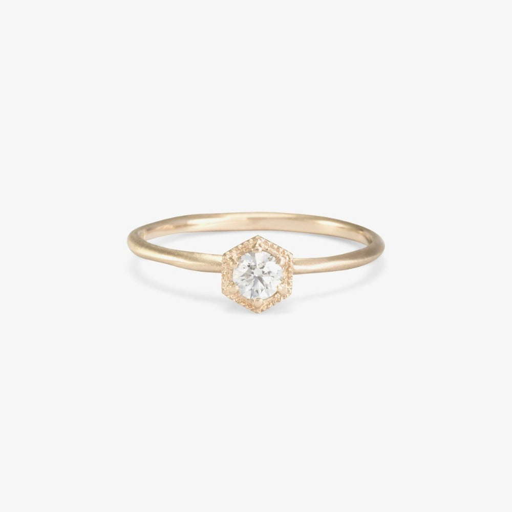 Hexagon White Diamond Ring | Magpie Jewellery