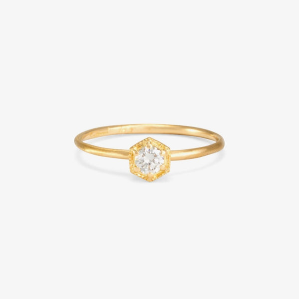 Hexagon White Diamond Ring | Magpie Jewellery Yellow Gold
