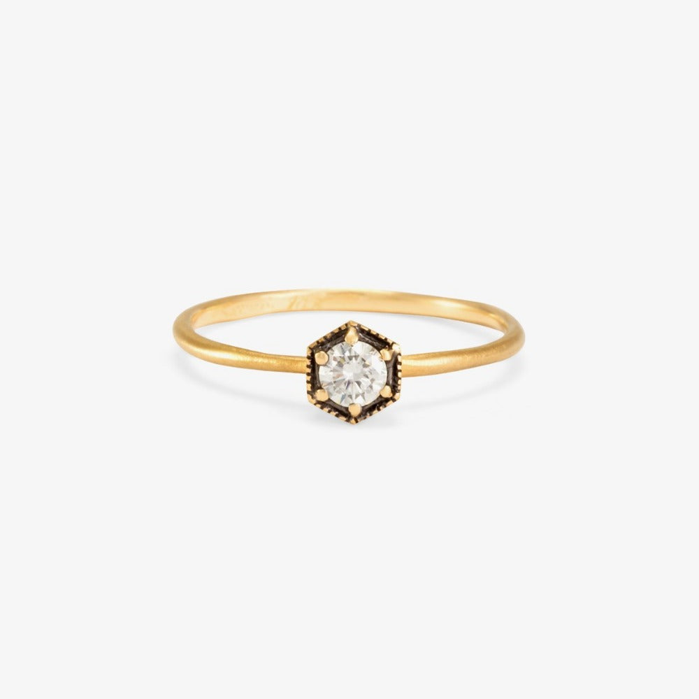 Hexagon White Diamond Ring | Magpie Jewellery Rhodium Plated