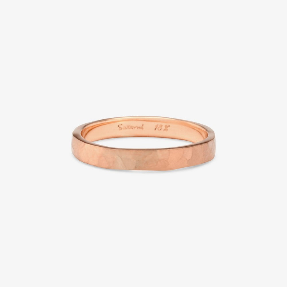 2.8mm Hammered Gold Band