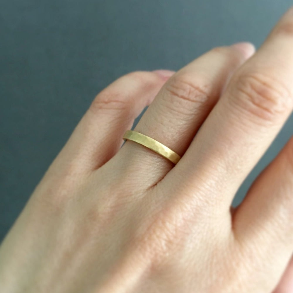 2.8mm Hammered Yellow Gold Band | Magpie Jewellery