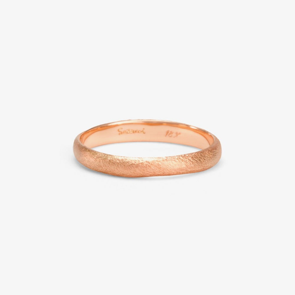 2.8mm Rough Rounded Rose Gold Band | Magpie Jewellery