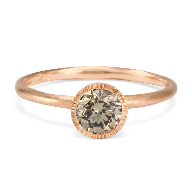 Round Brilliant Brown Diamond Solitaire Ring | Magpie Jewellery-Rose