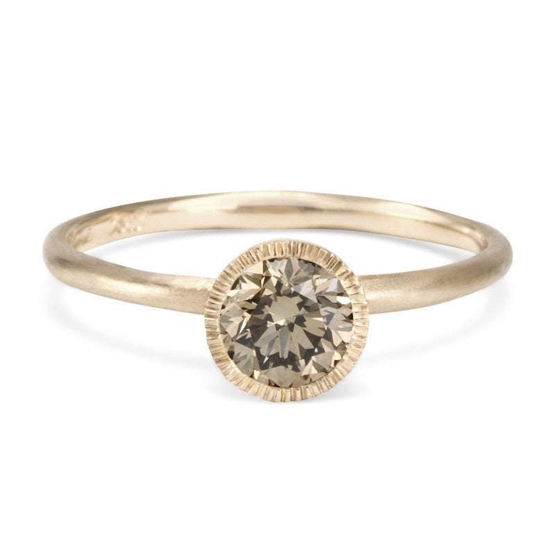 Round Brilliant Brown Diamond Solitaire Ring | Magpie Jewellery-White Gold
