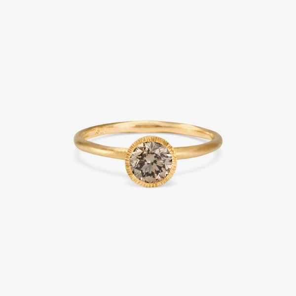 Round Brilliant Brown Diamond Solitaire Ring