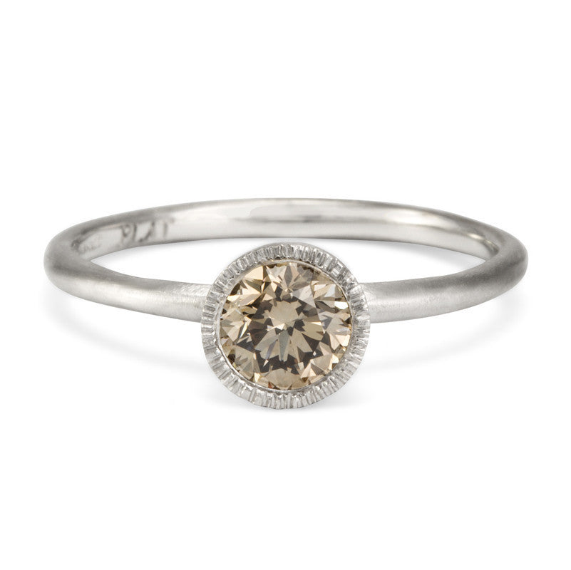 Round Brilliant Brown Diamond Solitaire Ring | Magpie Jewellery - White Gold