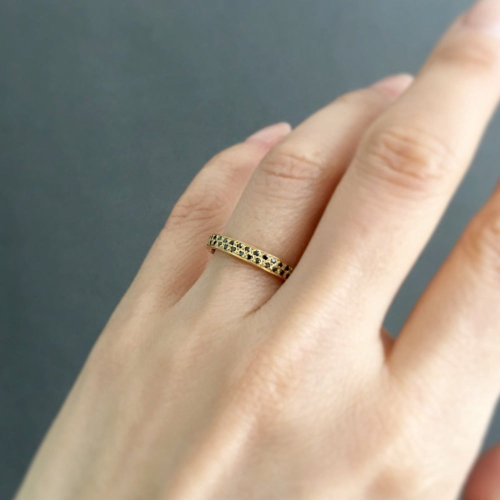 Black Diamond Double Eternity Band YG | Magpie Jewellery