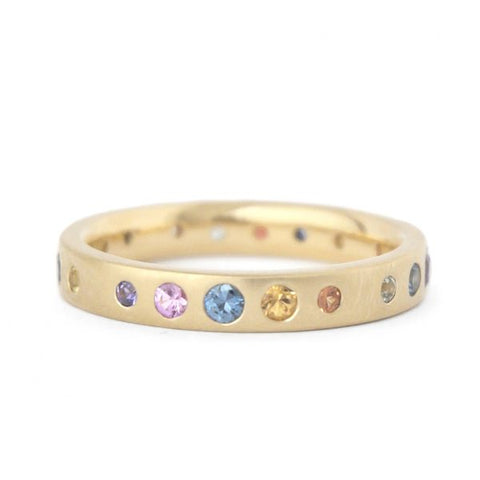 Multi-Colour Gypsy Set Sapphire Band