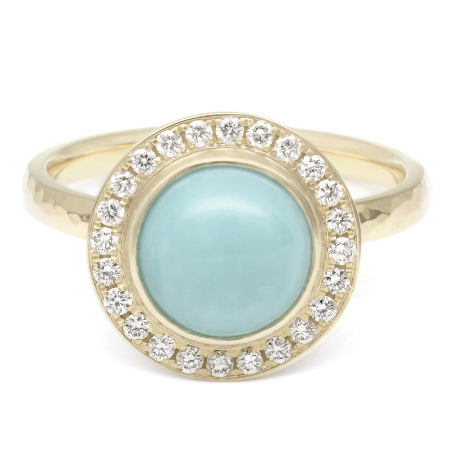 Turquoise Cabochon Diamond Halo Ring | Magpie Jewellery