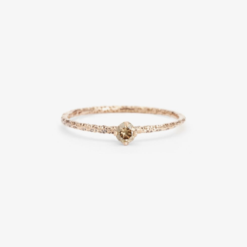 Brown Diamond Homespun Solitaire Ring WG | Magpie Jewellery