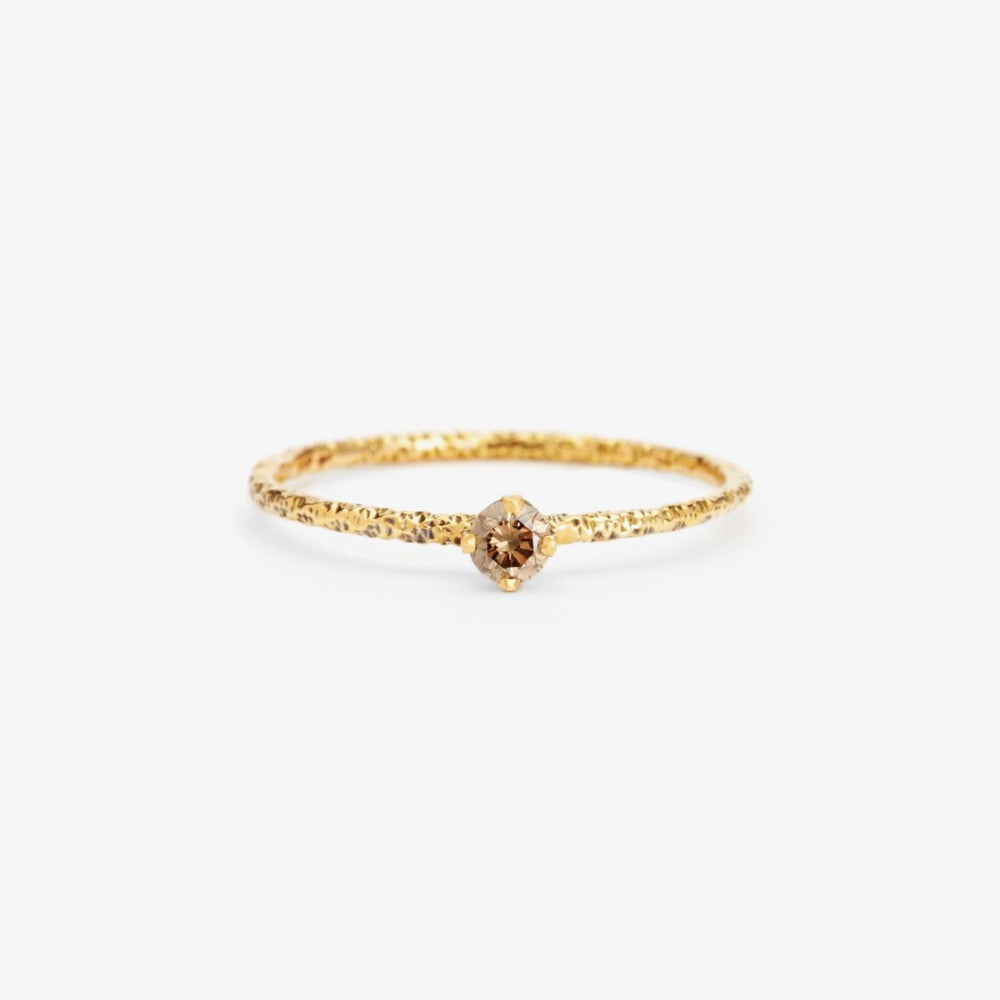Brown Diamond Homespun Solitaire Ring YG | Magpie Jewellery