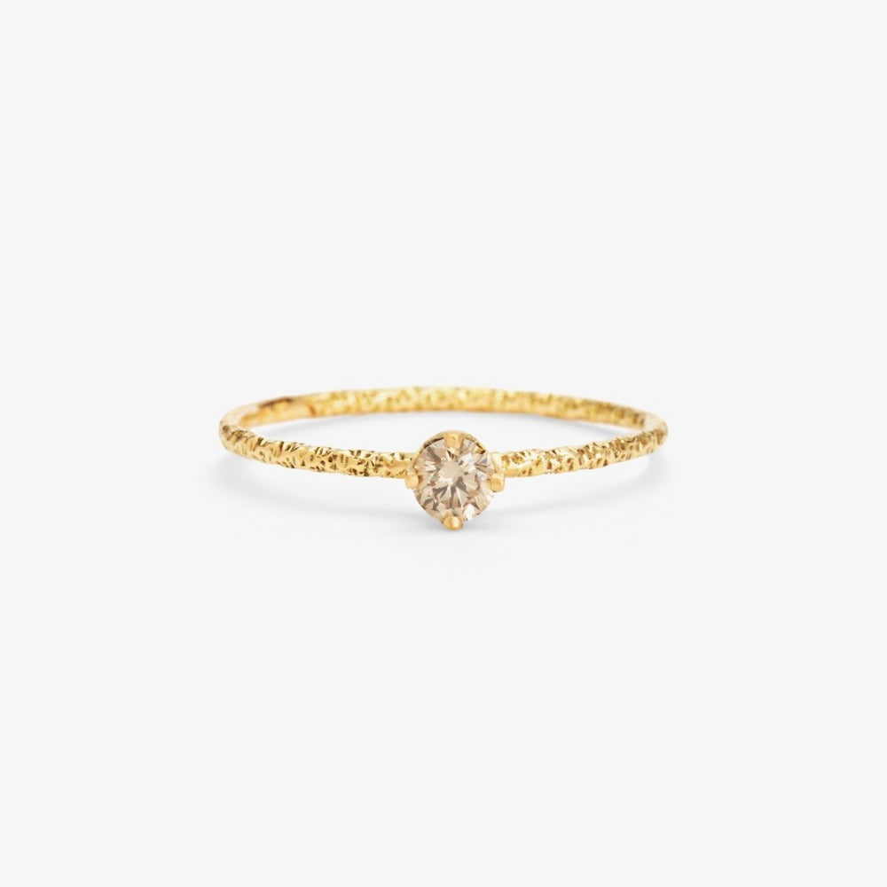 0.16 carat Brown Diamond Homespun Solitaire Ring YG | Magpie Jewellery