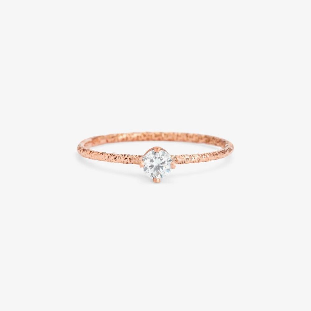 0.16 carat White Diamond Homespun Solitaire Ring RG | Magpie Jewellery