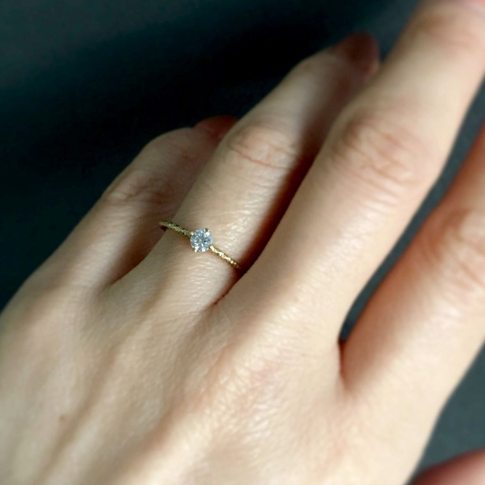 0.16 carat White Diamond Homespun Solitaire Ring YG | Magpie Jewellery