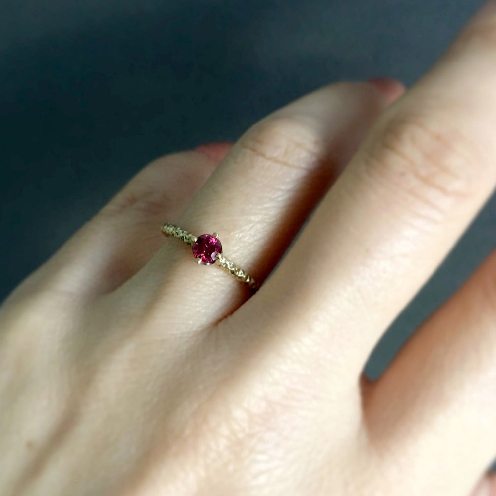 0.27 carat Ruby Homespun Solitaire Ring YG | Magpie Jewellery