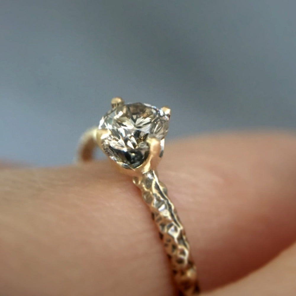 0.33 carat Diamond Brown Homespun Solitaire Ring YG | Magpie Jewellery