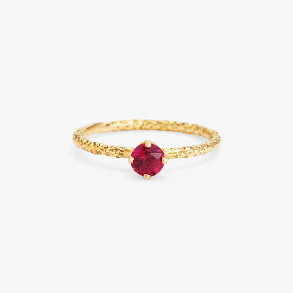 0.35 carat Ruby Homespun Solitaire Ring YG | Magpie Jewellery