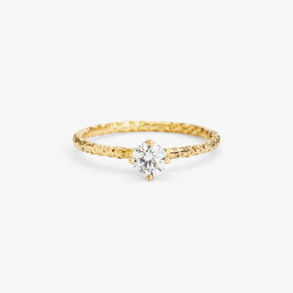 0.33 carat Diamond White Homespun Solitaire Ring YG | Magpie Jewellery