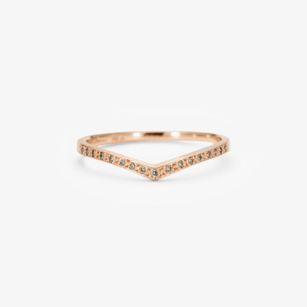 Brown Diamond Cresting Band RG | Magpie Jewellery