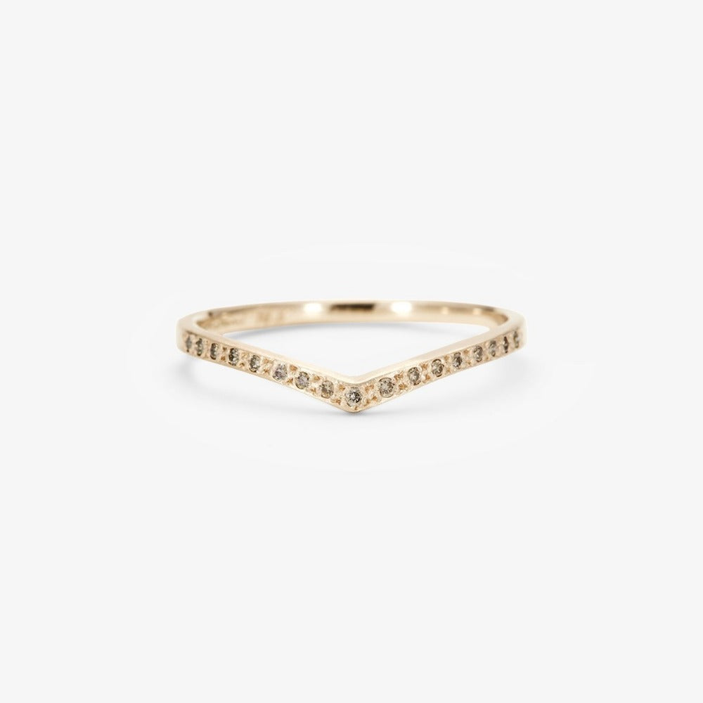 Brown Diamond Cresting Band WG | Magpie Jewellery