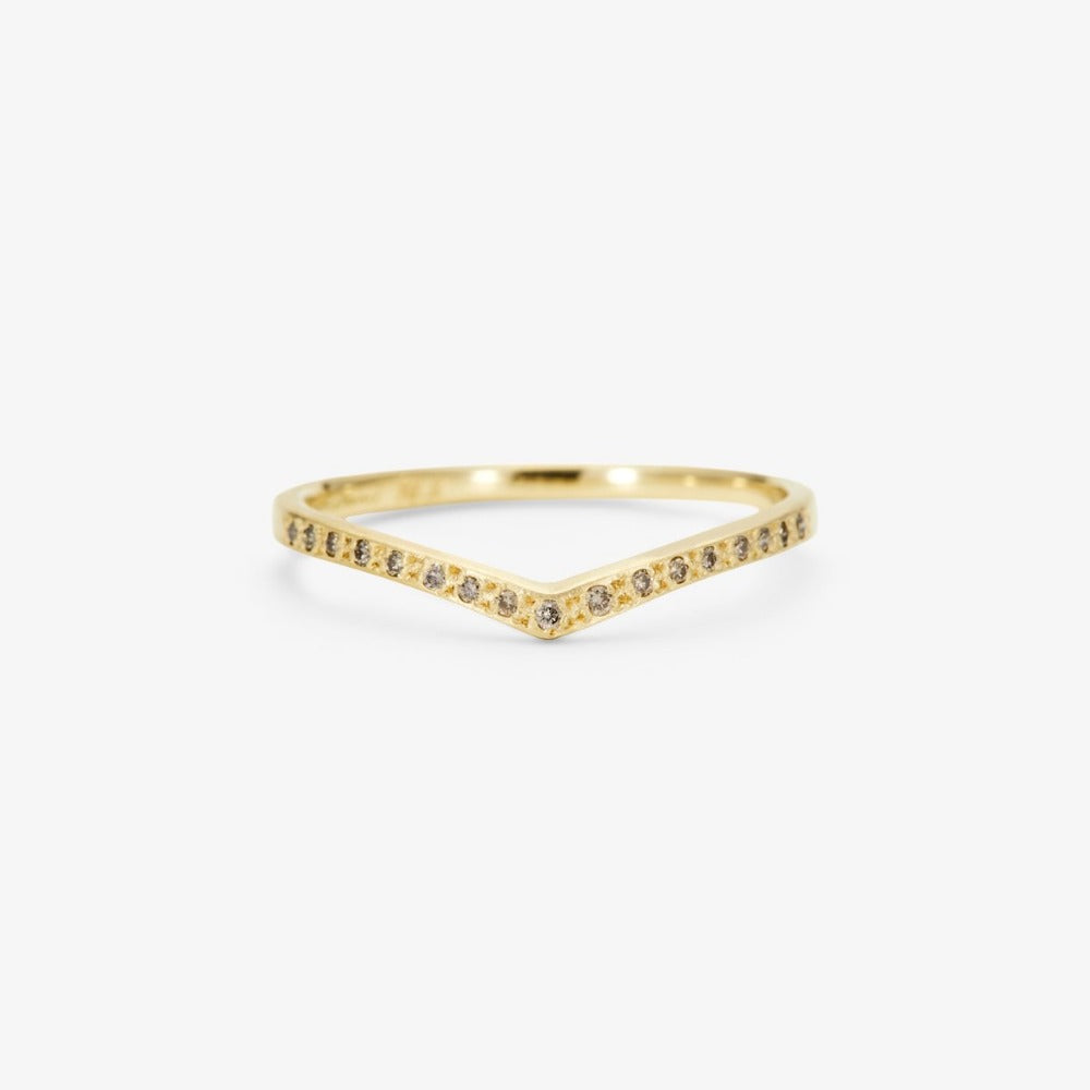 Brown Diamond Cresting Band YG | Magpie Jewellery