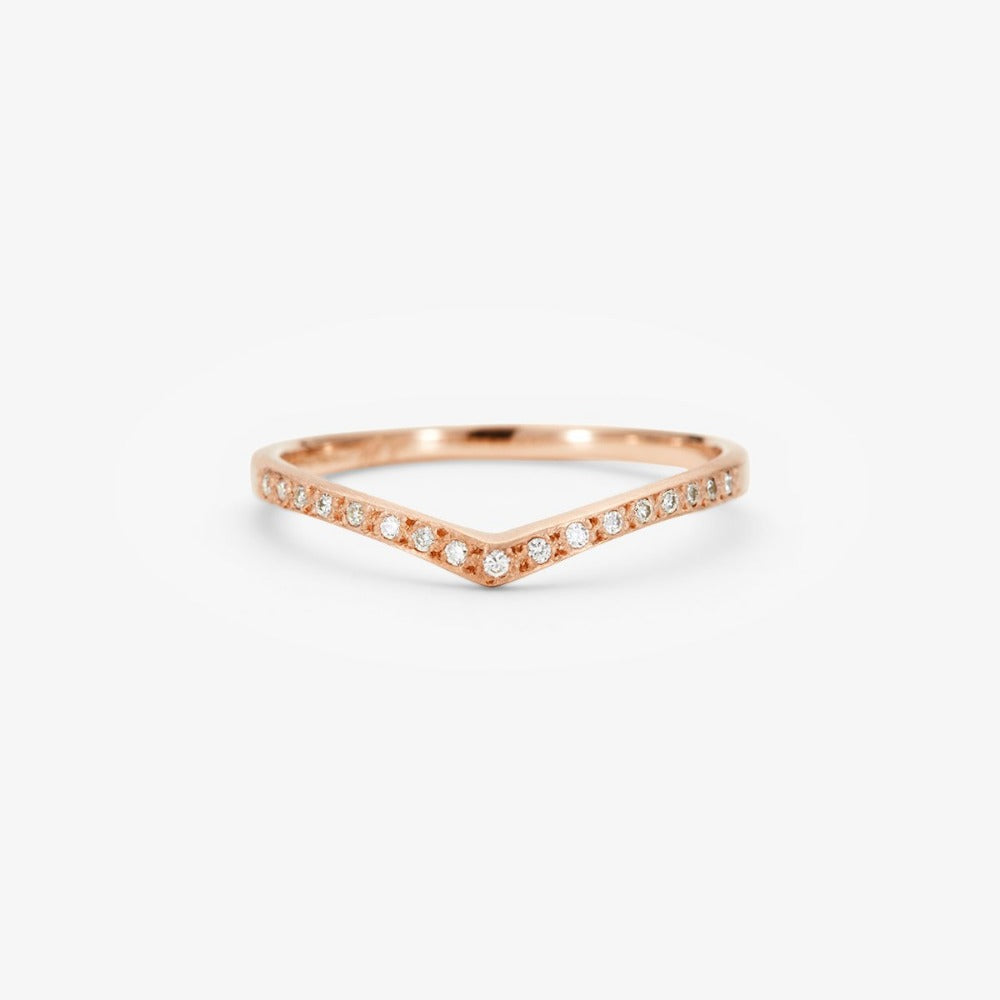 White Diamond Cresting Band RG | Magpie Jewellery
