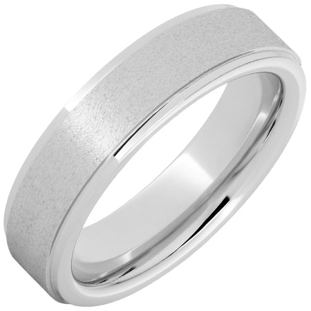 Serinium® Flat Band with Grooved Edges and Stone Finish 6mm