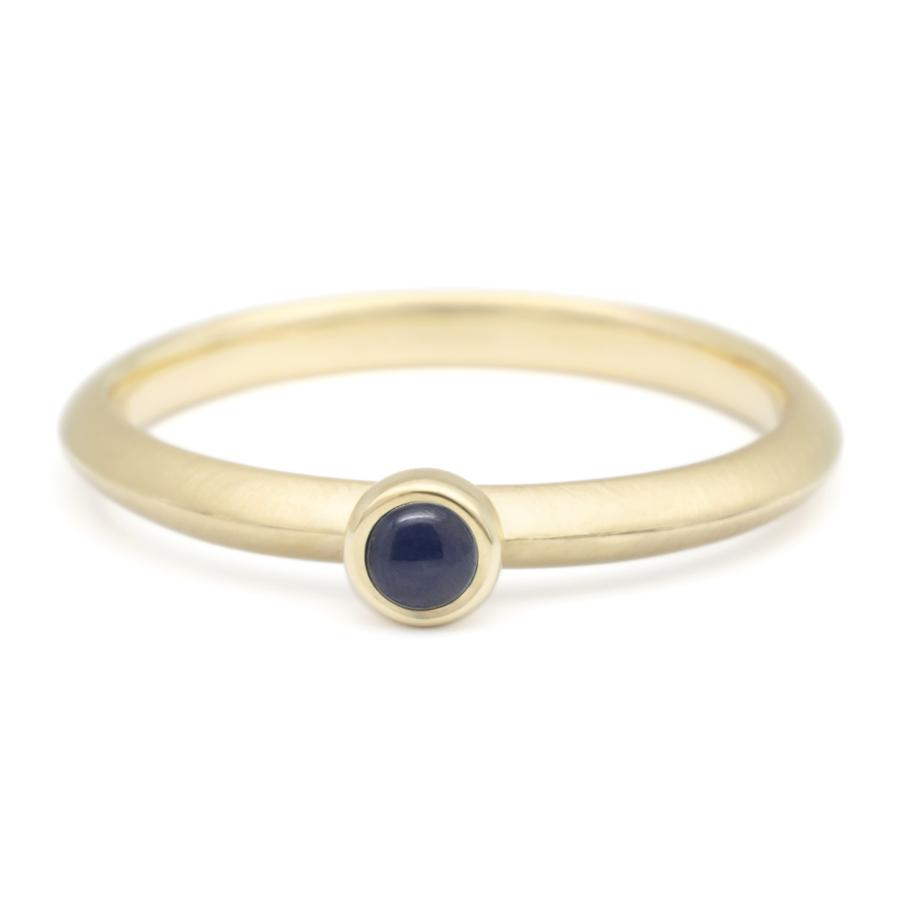 Mini Cabochon Gemstone Stacker Ring - Blue Sapphire