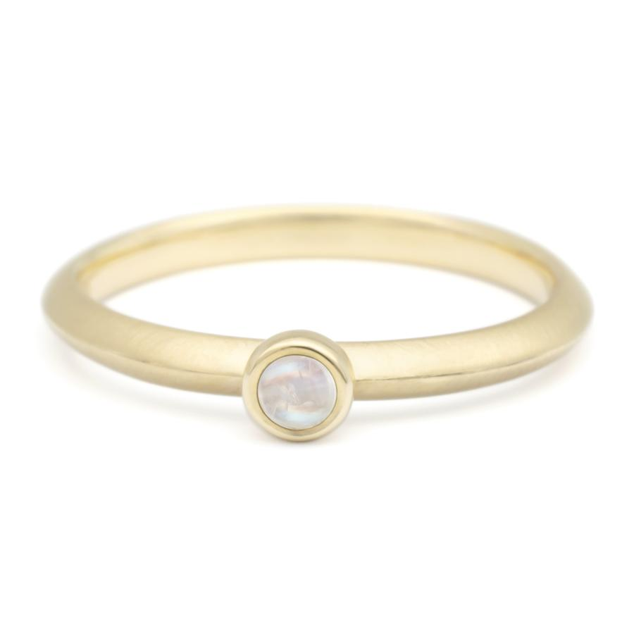 Mini Cabochon Gemstone Stacker Ring - Moonstone