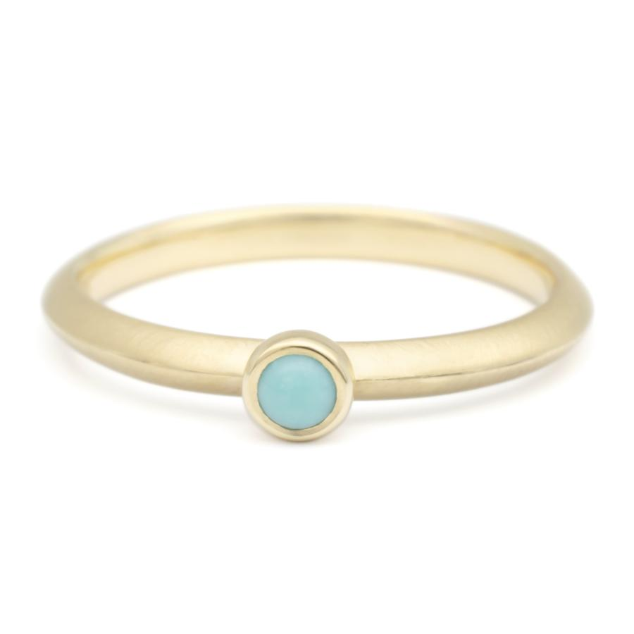 Mini Cabochon Gemstone Stacker Ring - Turquoise