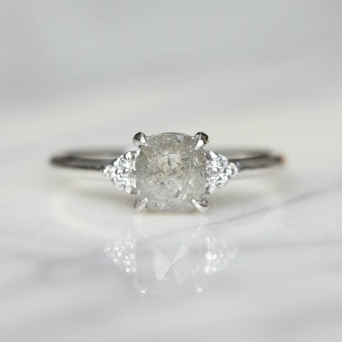 Grey Cushion Cut Petite Quinn Engagement Ring