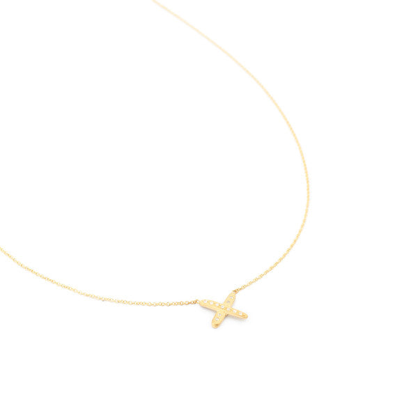 18ky Stick 'X' Necklace
