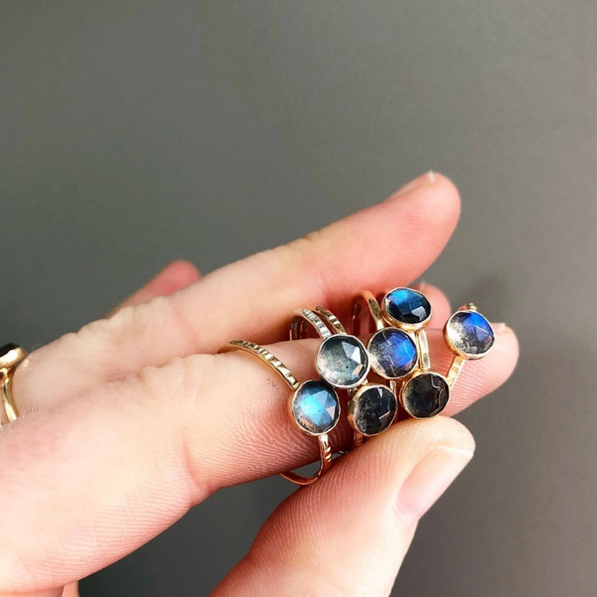 LABRADORITE STACKING RING - 14K GOLD-FILL | Magpie Jewellery