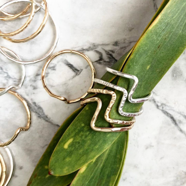 Zig-Zag Stacking Ring - Faceted | Magpie Jewellery | Ring Display | Stacked on Leaves