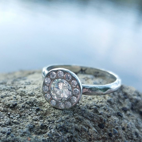 White Gold Sand Halo Ring