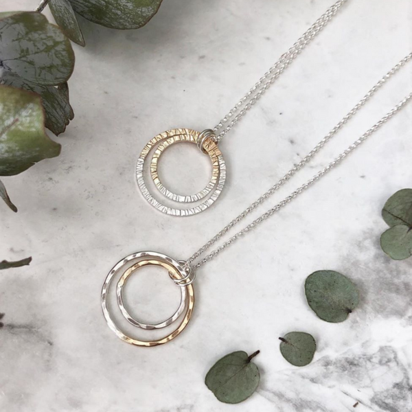 GOLD-FILL + SILVER FUSION HAMMERED DOUBLE CIRCLE NECKLACE