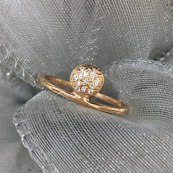 Single Ankh Diamond & Gold Engagement Ring