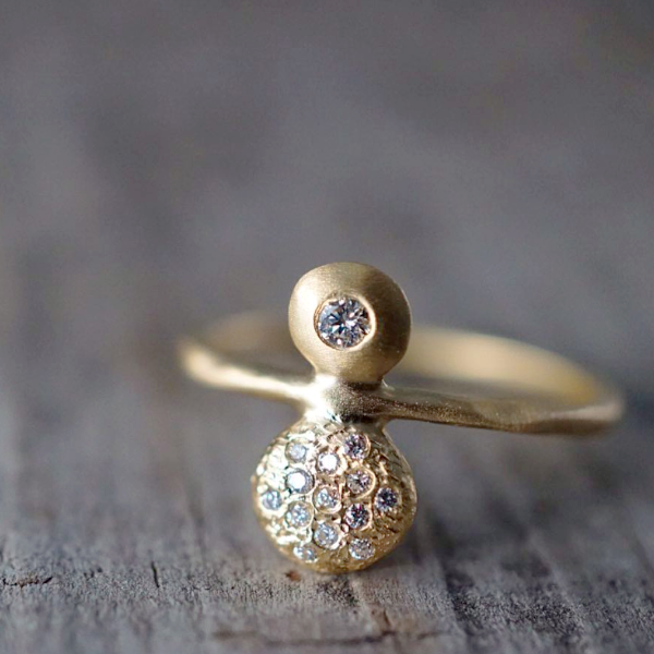 Double Ankh Ring Diamond & Gold Engagement Ring | Magpie Jewellery