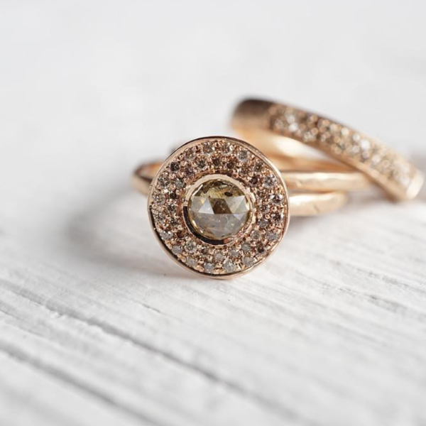 Edged Halo Solitaire Diamond & Gold Engagement Ring | Magpie Jewellery